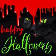 Happy Halloween Black Cat Cute Vector Design. Vector blood drops Stock Illustration