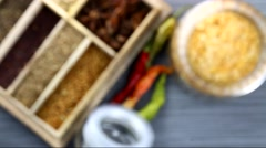 Indian spices in the spice box on a stone background, selective focus. Stock Footage