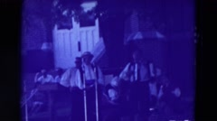 1965: outdoor party band music play enjoyment instruments CLARKSON, NEBRASKA Stock Footage