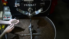 Roasting Coffee Beans in large container Stock Footage