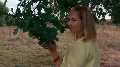 Romantic walk girl in the autumn forest 3 Stock Footage