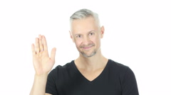 Hello, Waving Hand, Excited Middle Aged Man, White Background Stock Footage
