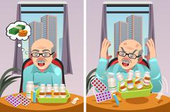 Elderly Man Angry at The Cost of His Prescription Drugs Stock Illustration