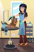 Pet Groomer Grooming a Dog at the Salon Stock Illustration