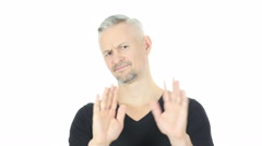 Denying, Refusing, Disliking Gesture by Middle Aged Man, White Background Stock Footage