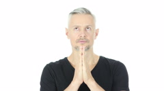 Praying, Help me God, Upset Middle Aged Man, White Background Stock Footage