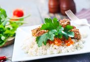 Boiled rice with sauce Stock Photos