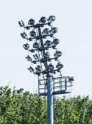 Stadium lighting scene, electrical equipment Stock Photos