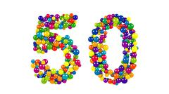 Colorful dynamic number 50 for a golden jubilee Stock Illustration