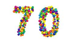 Number 70 as colorful balls over white background Stock Illustration