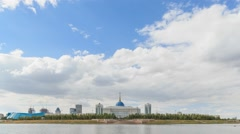 Akorda Palace of Independence. View from the river. Astana, Kazakhstan. HDR Time Stock Footage