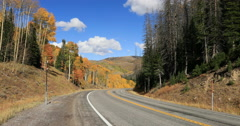 Mountain road autumn fall forest DCI 4K Stock Footage