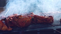 4k Food Composition of Barbecue Meat in Smoke Stock Footage