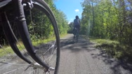 Family riding bikes through beautiful green forest Stock Footage