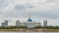 Akorda Palace of Independence. View from the river. Astana, Kazakhstan. HDR Stock Footage
