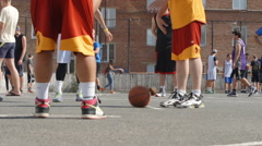 Streetball player ready to a foul shot in a match  (slow motion) Stock Footage