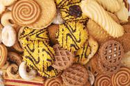 Pile of mix cookies isolated over the white background Stock Photos
