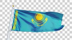 Kazakhstan flag, close up, isolated with alpha channel Stock Photos