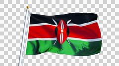 Kenya flag, close up, isolated with alpha channel Kuvituskuvat