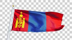 Mongolia flag, close up, isolated with alpha channel Stock Photos