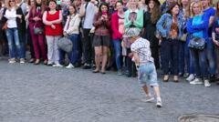 4K .Little boy dances to  sound of music. Ukraine, city  Chernivtsi Stock Footage
