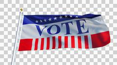 Vote 2016 Presidential Elections USA flag, close up, isolated on alpha Stock Photos