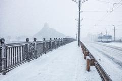 Almost empty street during heavy snow storm Kuvituskuvat