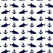 Nautical seamless background, vector illustration. Stock Illustration