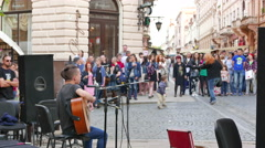 4K . Street ensemble in city and crowd of people .Ukraine, city  Chernivtsi Stock Footage