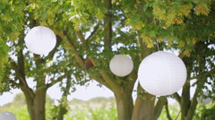 A tree decorated with flowers and white balloons Stock Footage