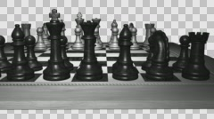 Chess Set - Close Panorama - Front Black Pieces - 4K Stock Footage