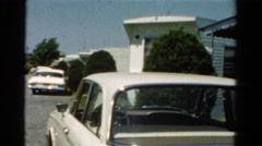 1954: trailers parked underneath what appears to be a freeway overpass OHIO Stock Footage