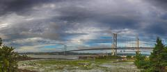 Forth Rail and Road Bridges panorama Stock Photos