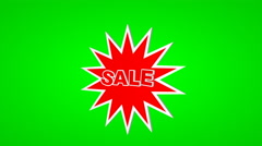 Sale text label on a green screen in motion Stock Footage