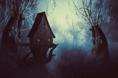 Spooky Witch House in Mist Stock Illustration