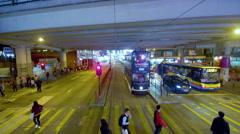 TRAMS BUSES FLYOVER CAUSEWAY BAY HONG KONG CHINA Stock Footage