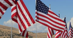Row United States of America flags mountain DCI 4K Stock Footage