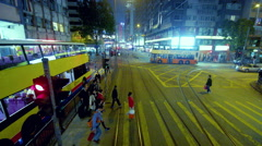 PEDESTRIANS CROSSING WAN CHAI HONG KONG CHINA Stock Footage