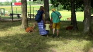 Family father mother and toddler daughter posing near roe animals in zoo park Stock Footage