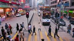 RIDING ON TRAM WAN CHAI HONG KONG CHINA Stock Footage