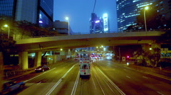 TRAMS BUSES ON QUEENSWAY WAN CHAI HONG KONG CHINA Stock Footage