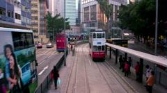 RIDING ON TRAM CAUSEWAY BAY HONG KONG CHINA Stock Footage