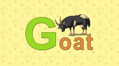 Goat. English ZOO Alphabet - letter G Stock Footage