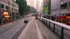 RIDING ON TRAM FOREST HILL HONG KONG CHINA Stock Footage