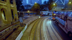 TRAMS BUSES DES VOEUX CHATER ROAD HONG KONG CHINA Stock Footage