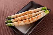 Meat-rolled asparagus Stock Photos