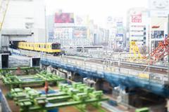 Tilt-shift bird's eye view of Shibuya, Tokyo, Japan Stock Photos