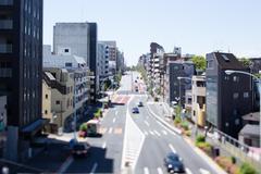 Tilt-shift bird's eye view of Tokyo, Tokyo, Japan Stock Photos