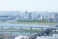 Tilt-shift bird's eye view of Tokyo cityscape, Tokyo, Japan Stock Photos