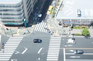 Tilt-shift bird's eye view of street in Tokyo, Tokyo, Japan Stock Photos